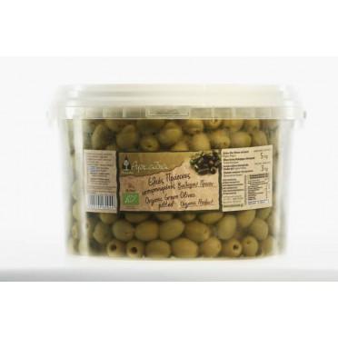 Olives vertes Chalkidiki en saumure dénoyautées BIO 3kg