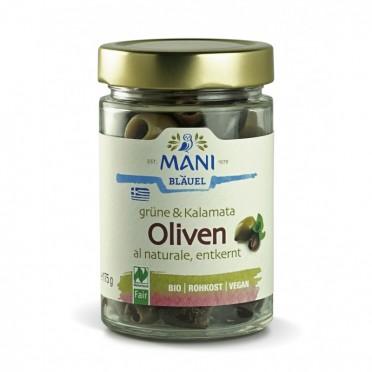 Olives bio de Kalamata et vertes dénoyautées  au naturel
