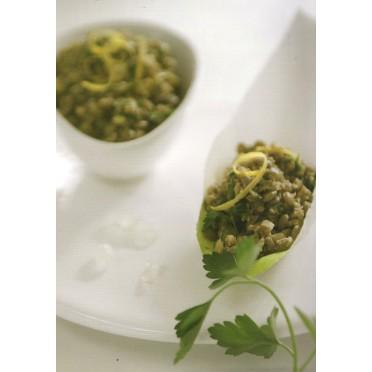 Recette de la salade de lentilles, olives vertes et mastic - source : MASTIHA CUISINE - mastihashop